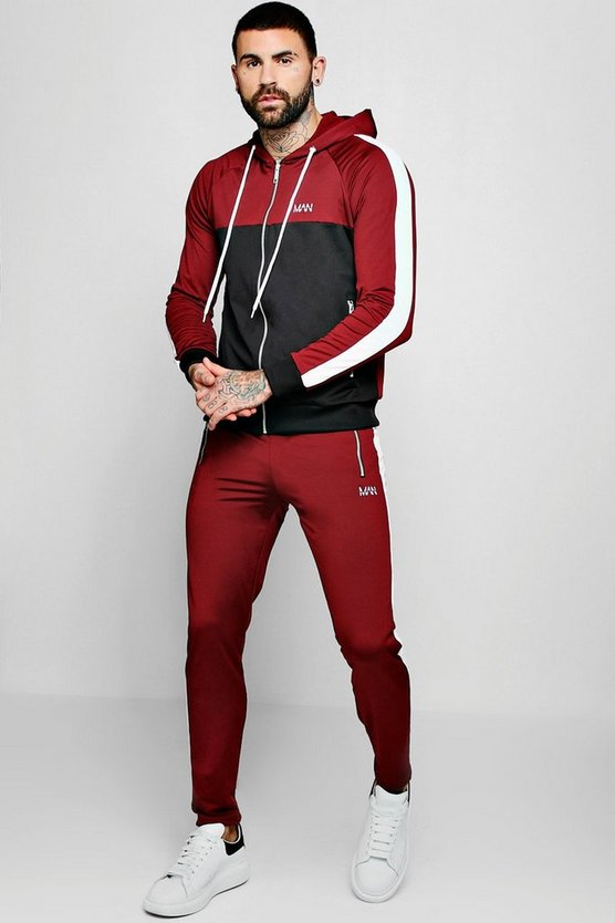 Skinny MAN Colour Block Tricot Tracksuit