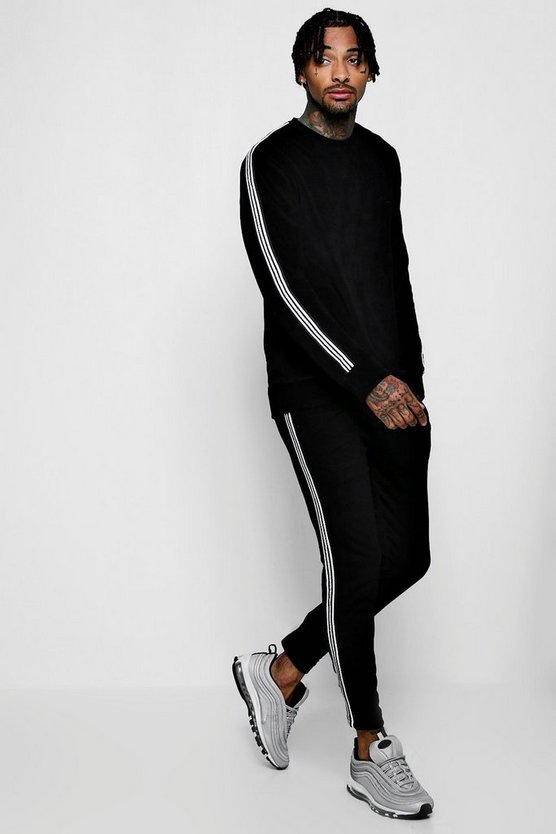 MAN Signature Velour Sweater Sports Tape Tracksuit