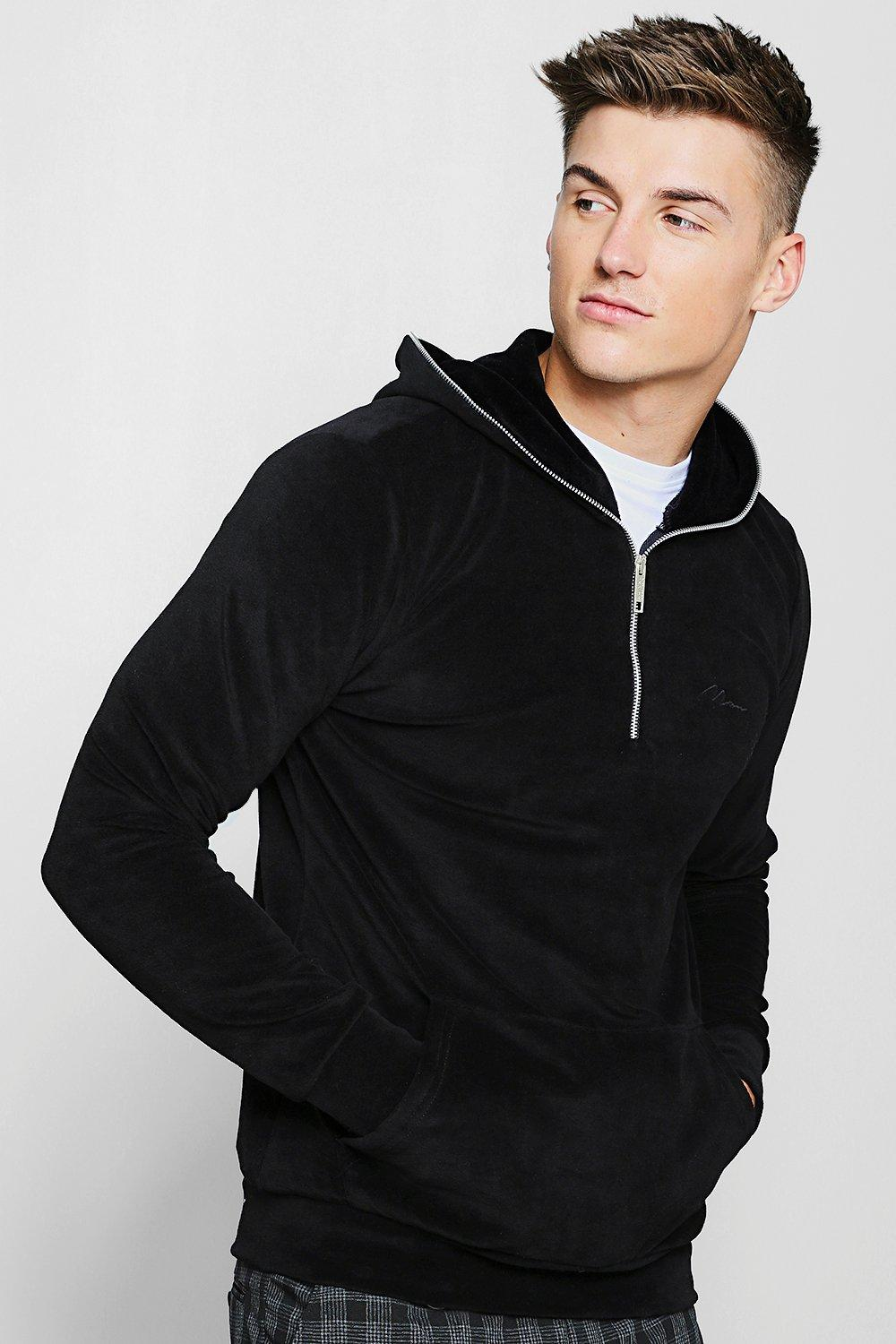 MAN Signature Velour Hoodie With Zip Placket