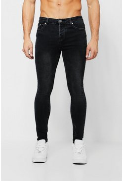 Herr Spray On Skinny Jeans In Washed Black