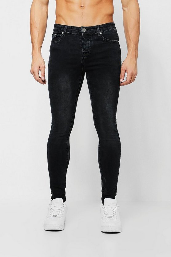 Mens Spray On Skinny Jeans In Washed Black