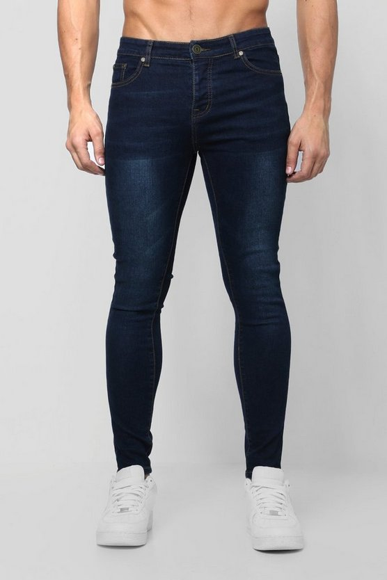 Mens Navy Spray On Skinny Jeans In Navy Wash