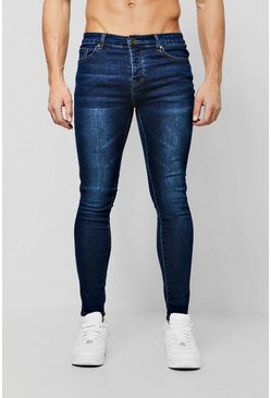 Mens Spray On Skinny Jeans In Dark Blue