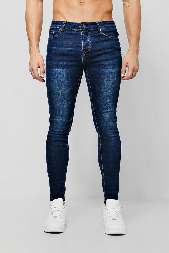 Mens Dark blue Spray On Skinny Jeans In Dark Blue
