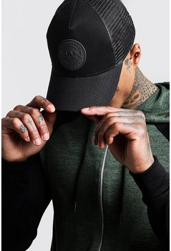 Mens Mesh Black MAN Rubber Patch Cap