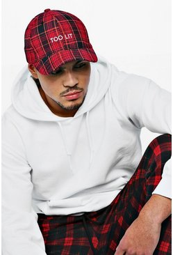Mens Red Too Lit Embroidered Tartan Cap