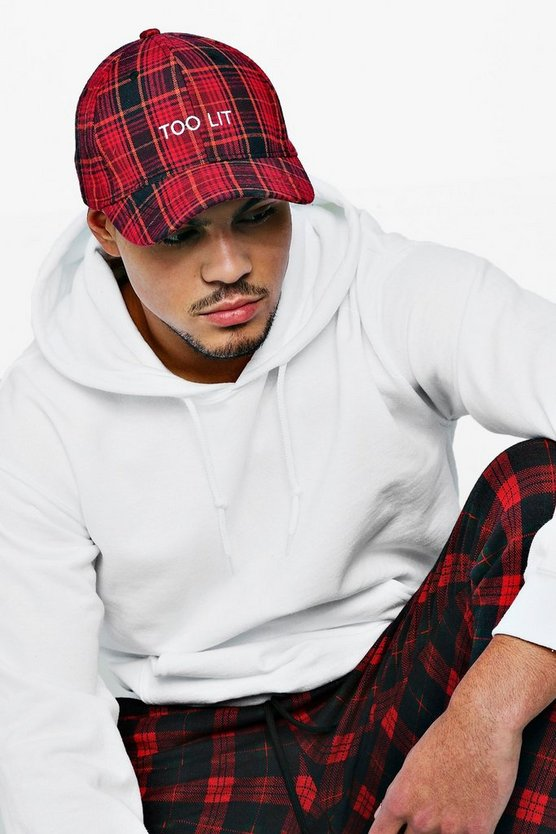 Too Lit Embroidered Tartan Cap