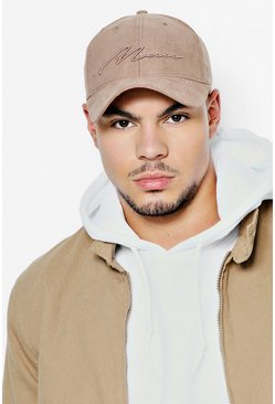 Mens Stone 3D MAN Script Embroidered Suede Cap