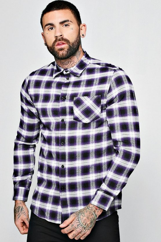 Mens Purple Long Sleeve Regular Fit Check Shirt