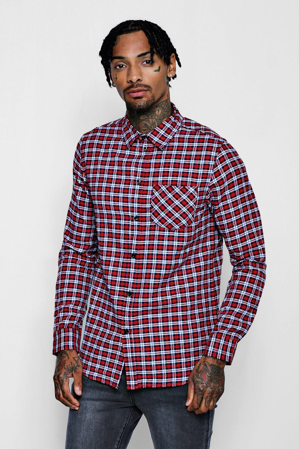 Red Check Long Sleeve Regular Fit Shirt