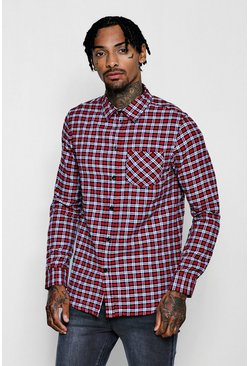Mens Red Check Long Sleeve Regular Fit Shirt