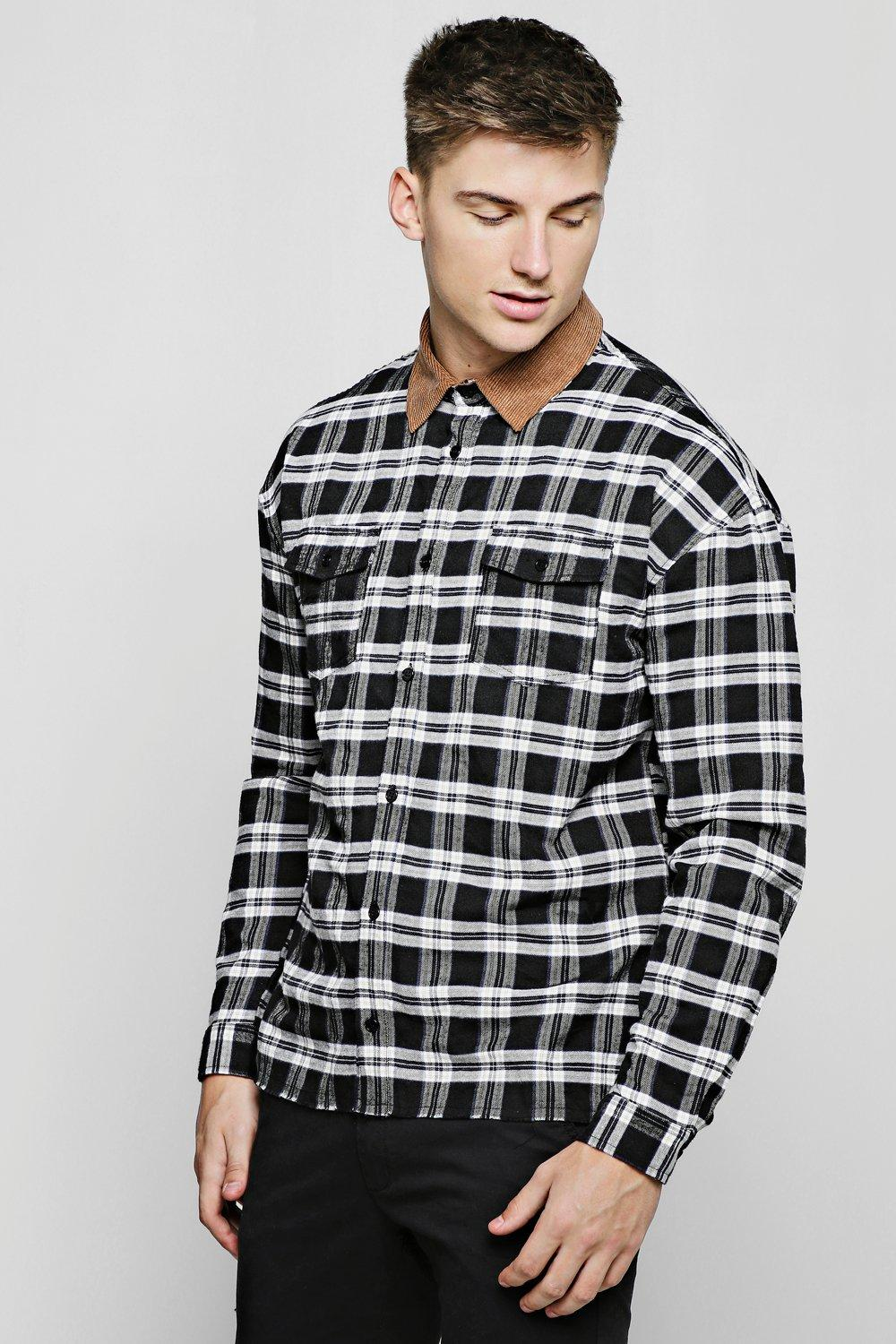 Brushed Check Shirt With Cord Collar