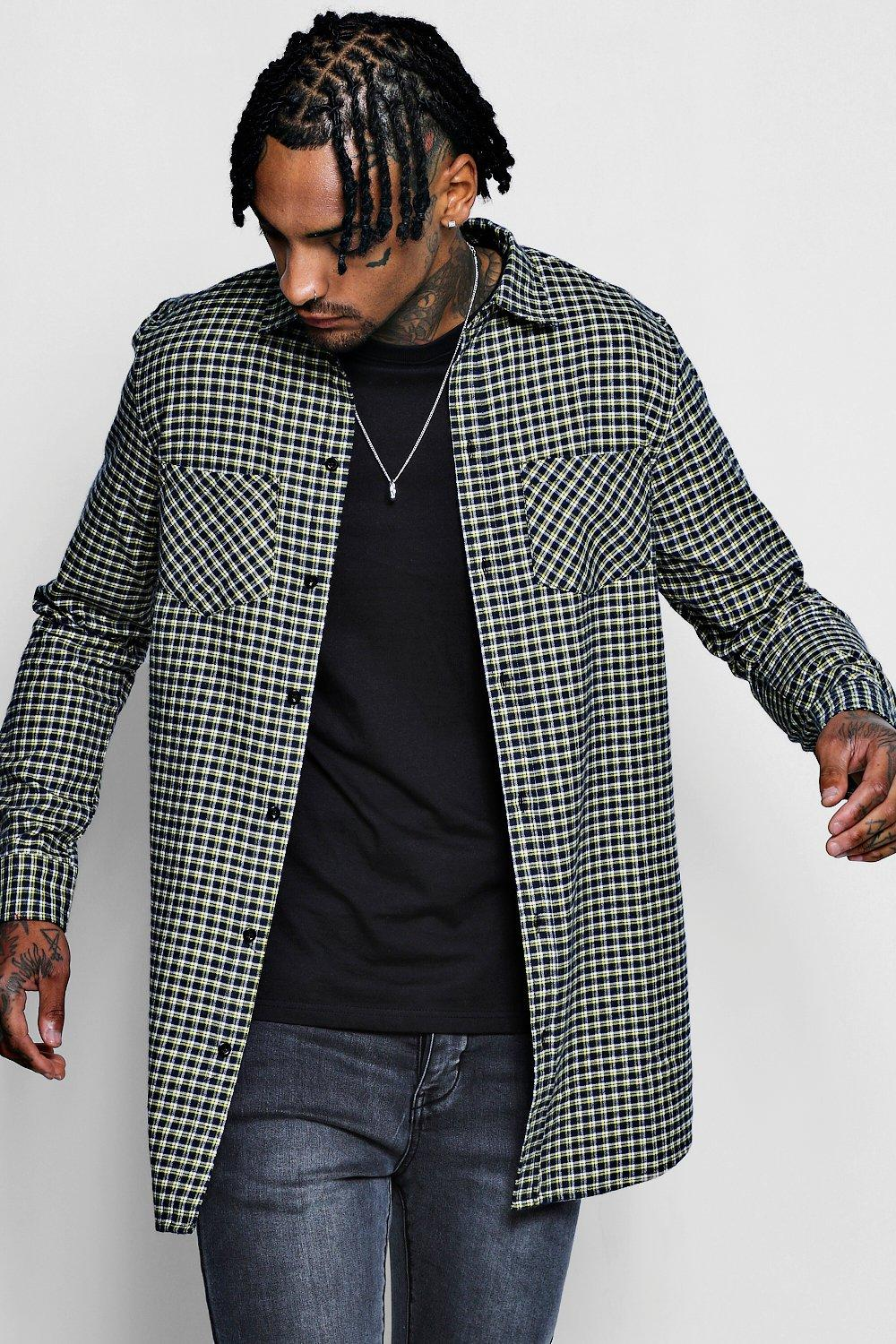 Yellow Check Long Sleeve Shirt In Longline