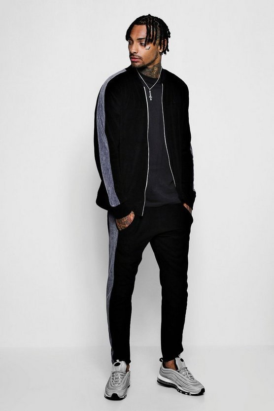 Bomber Velour Tracksuit With Side Panel