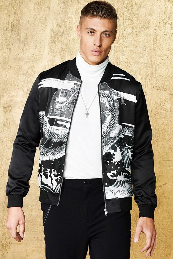 Mens Black Dragon Print Sateen Bomber Jacket