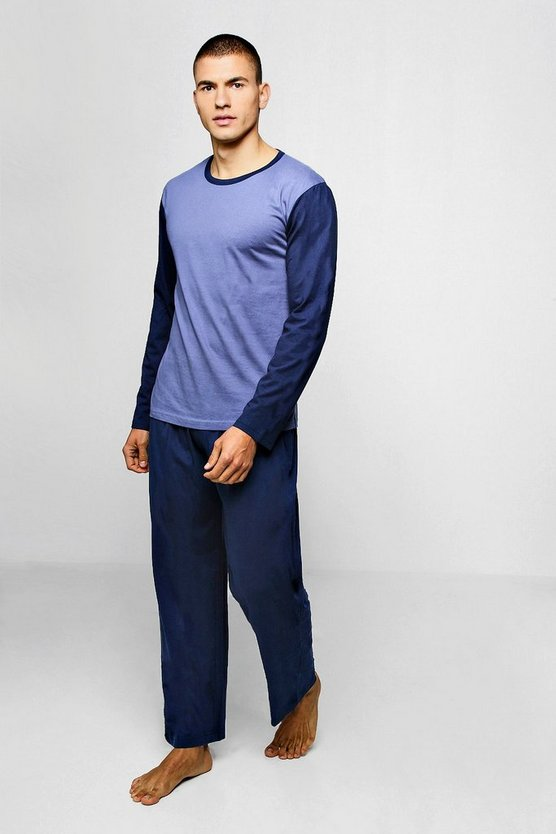 Mens Colour Block Long Sleeve PJ Set