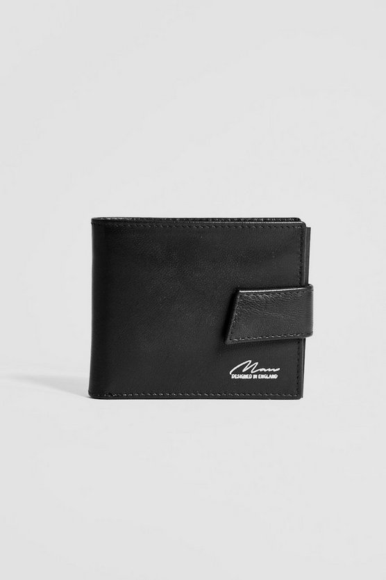Mens Black Real Leather Foil Emboss Wallet With Tab
