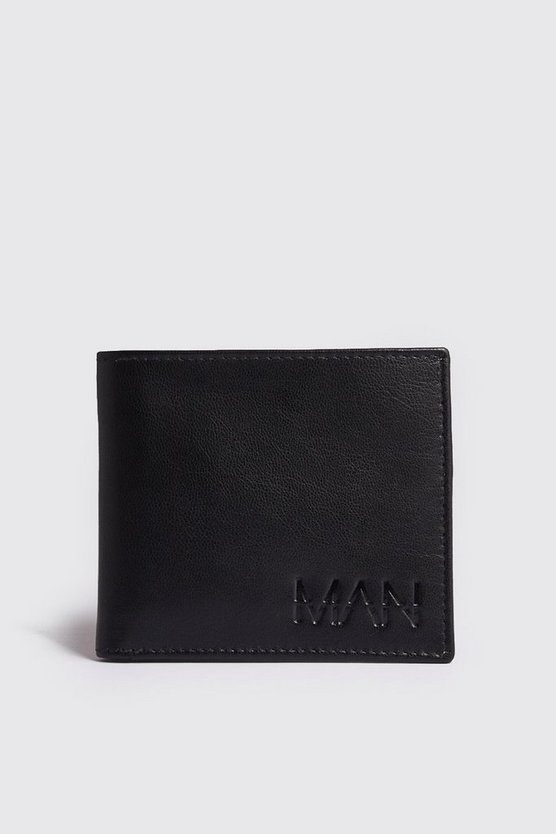 Mens Black Real Leather Foil Emboss Wallet