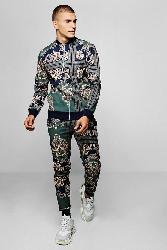 Baroque Print Bomber Tracksuit