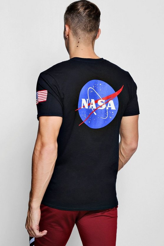NASA License Front And Back Print T-Shirt