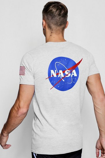 Grey NASA License Front And Back Print T-Shirt