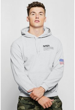 Grey NASA Chest And Sleeve Print Hoodie
