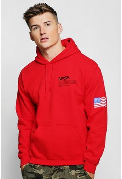 Mens Red NASA Chest And Sleeve Print Hoodie