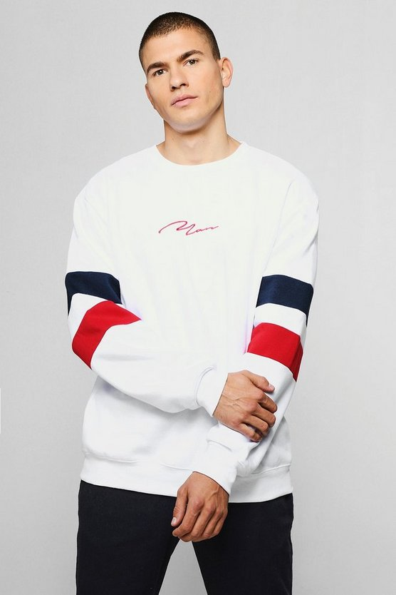 Mens White MAN Signature Embroidered Contrast Sleeve Sweater