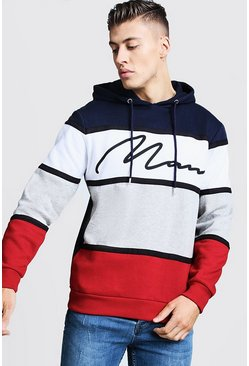Mens Multi Colour Block MAN Signature Hoodie With Tape