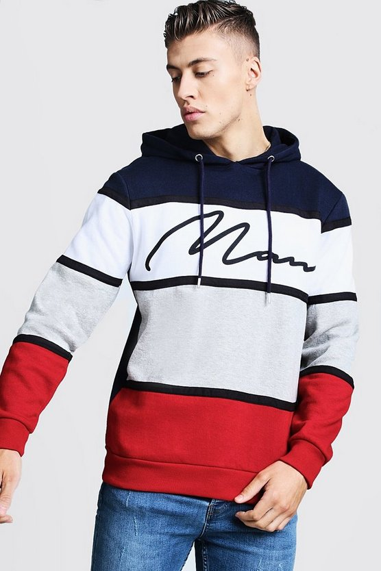 Colour Block MAN Signature Hoodie With Tape