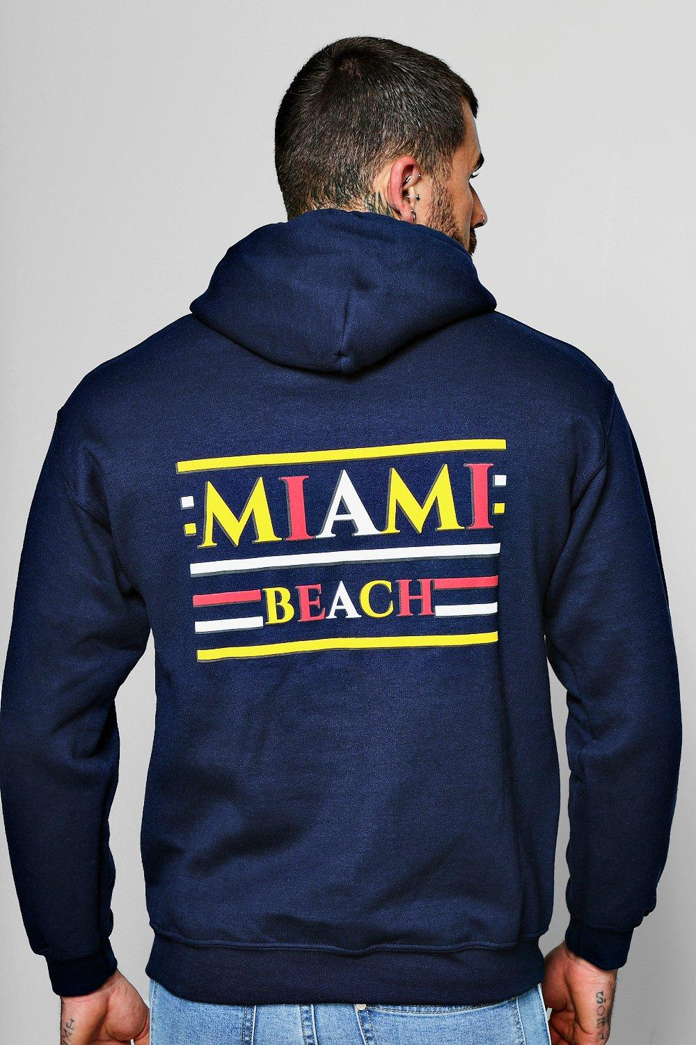 Miami Beach Front And Back Print Hoodie