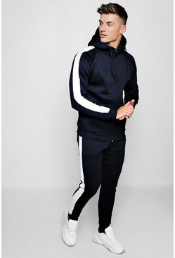 Herr Navy Zip Through Fleece Tracksuit With Contrast Tape
