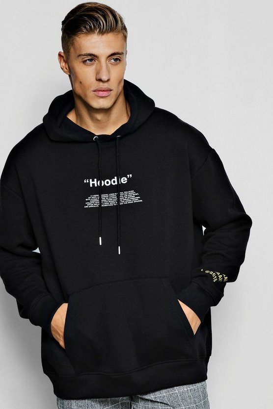 Oversized Hoodie With Sleeve Print