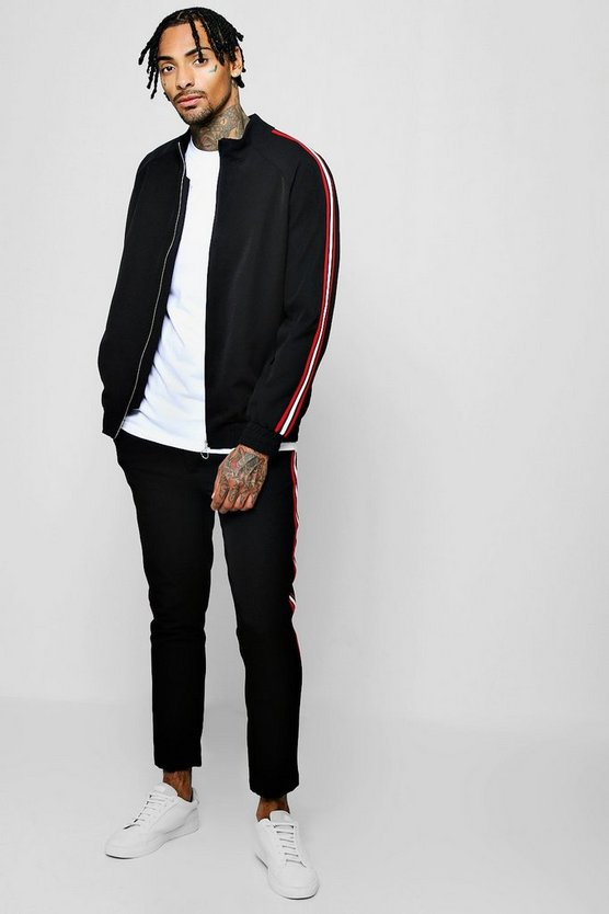 Black Crepe Smart Bomber Tracksuit With Tapings
