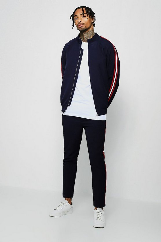 Crepe Smart Bomber Tracksuit With Taping