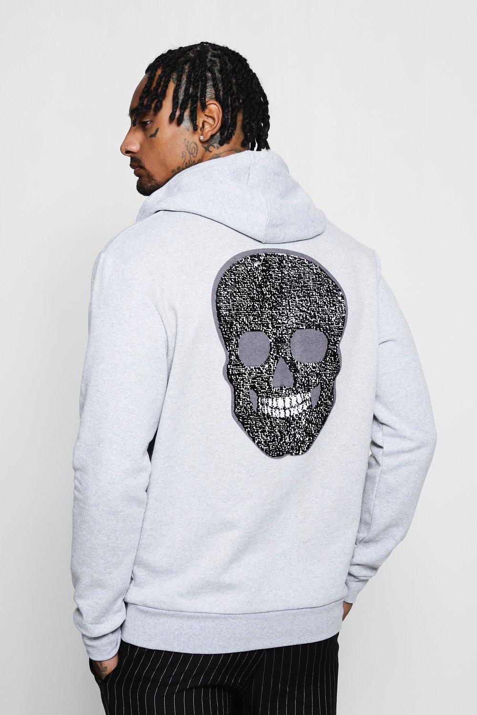 Skull Sequin Back Detail Hoodie