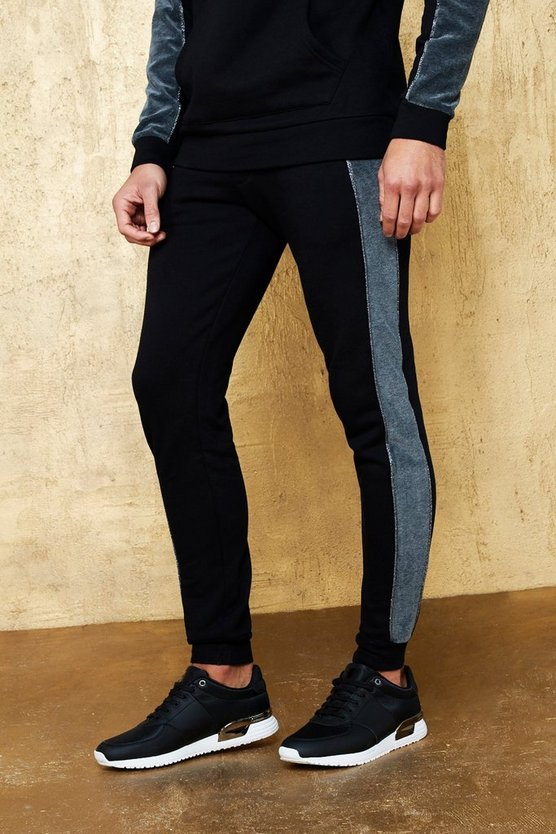 Skinny Party Jogger With Velour Side Panel