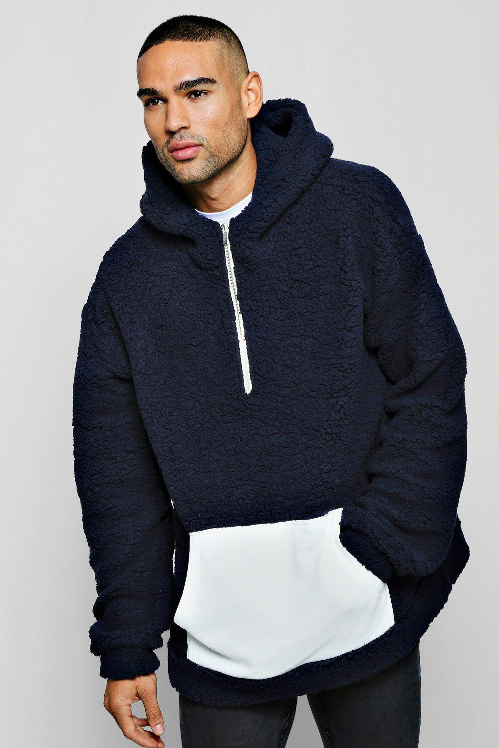 Oversized Borg Hoodie With Contrast Panel