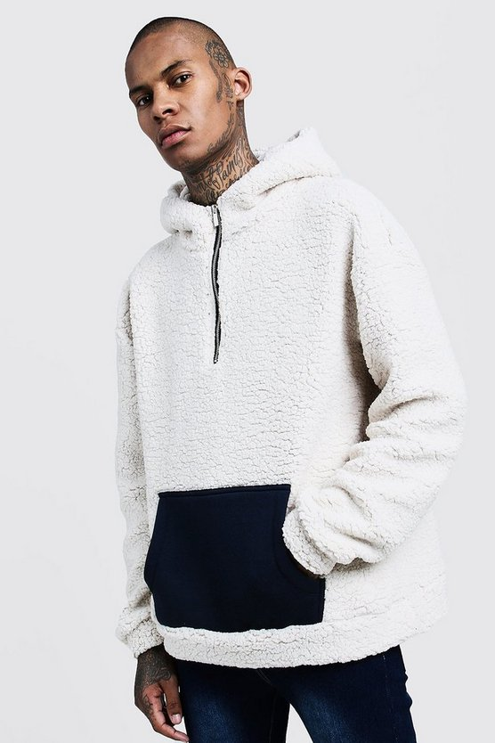 Mens Beige Oversized Borg Hoodie With Contrast Pocket
