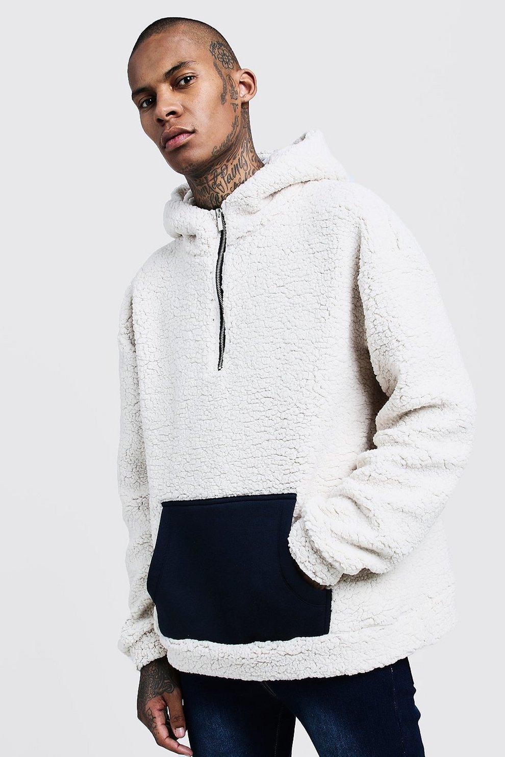 cc36e9c4715 Sweat à capuche oversize mouton avec poche contrastante