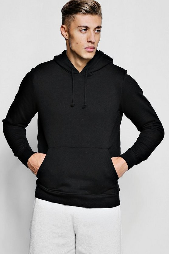 Mens Black Basic Over The Head Hoodie