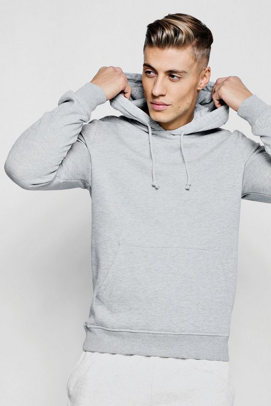 Mens Grey marl Basic Over The Head Hoodie