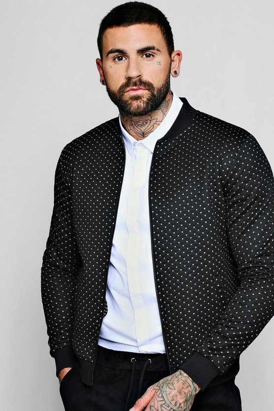 Quilted Bomber Jacket With Metallic Stitch
