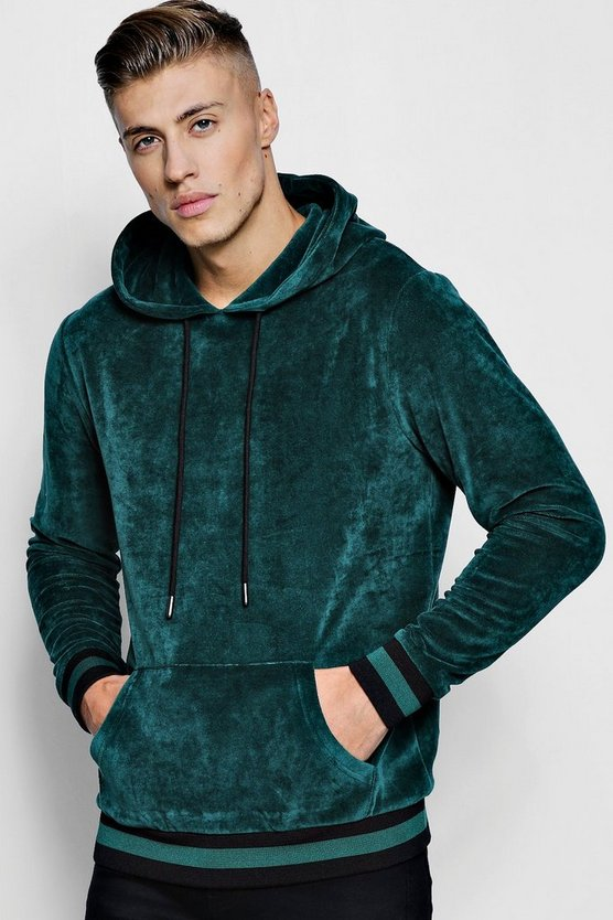 Velour Hoodie With Sports Rib