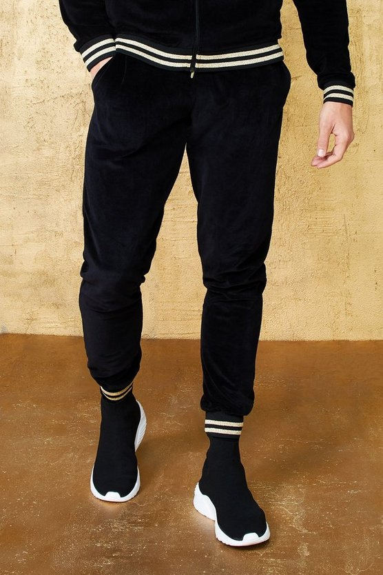 Mens Black Velour Jogger With Gold Rib