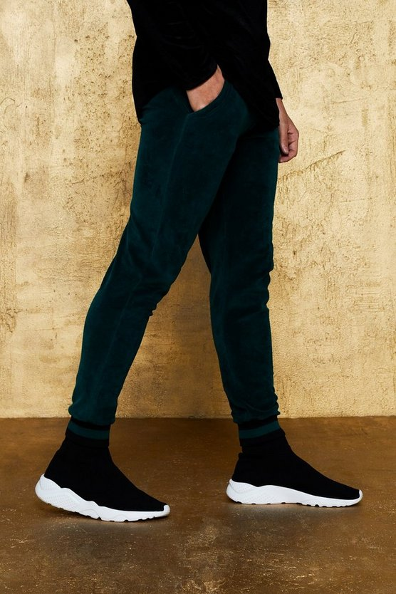 Velour Jogger With Sports Rib Knit