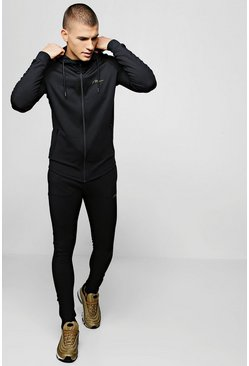Mens Black Super Skinny Fit MAN Signature Tracksuit