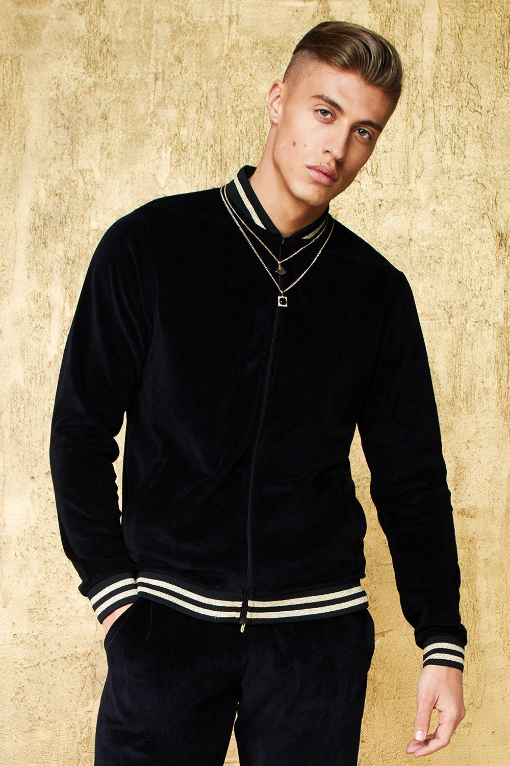 Velour Bomber With Gold Sports Rib