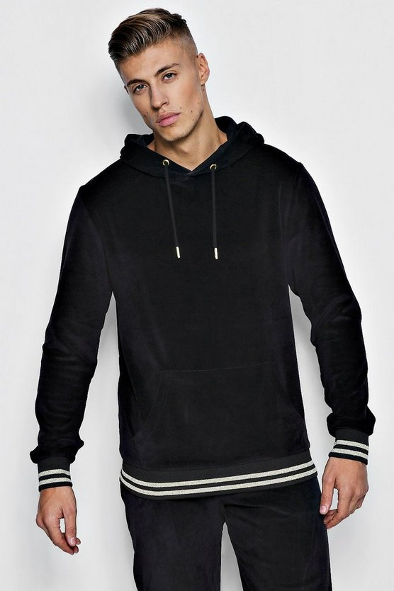 Velour Oversized Hoodie With Gold Rib