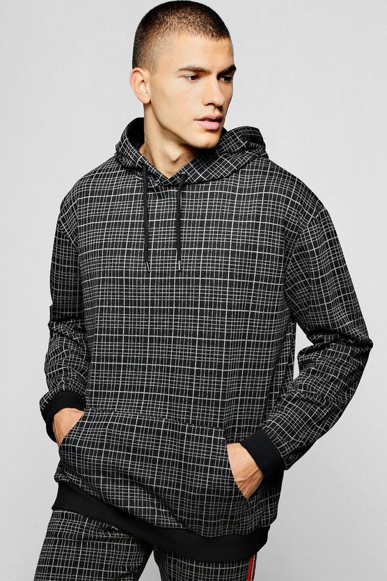 Oversized Check Jacquard Hoodie